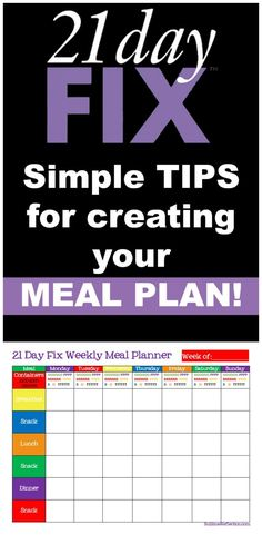 Simple tips for creating a 21 Day Fix Meal plan, including Weekly Meal Planner and Shopping List printables.  http://sublimereflection.com