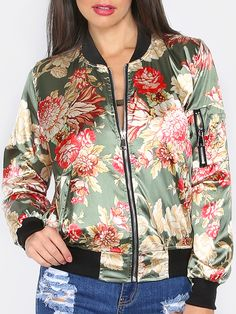Olive Green Flower Print Zip Up Silky Bomber Jacket — 0.00 € ----color: Green size: M,XS