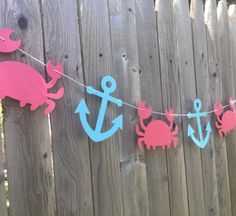 Crab Anchor Garland Banner - Nautical Party Birthday Decoration - Ocean - Beach - Shower by MyCutieBows on Etsy