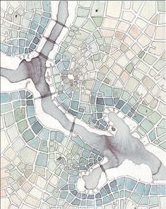 A gorgeous watercolor imaginary city map. Looks quite abstract! By Emily Garfield. Architecture Graphics, Architecture Drawings, Architecture Mapping, Architecture Diagrams, Landscape Architecture, Map Quilt, Stoff Design, Ink Wash, Map Design