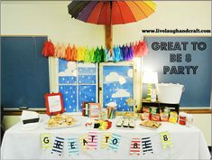 Great to be 8 Baptism Party. Primary Songs, Primary Activities, Lds Primary, Rainbow Chevron, Rainbow Theme, Baptism Party, Baptism Talk, Girl Baptism, Baby Party