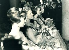 Sibylla in the Connaught tiara, with her daughters, 1960s