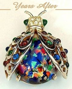 Vintage MARCEL BOUCHER Brooch Sterling BEETLE Bug Fire Opal MOSAIC from yearsafter on Ruby Lane