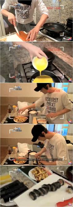 "#Shinhwa cooking boardcast: #ShinHyeSung self-cam #kimbap making for Shinhwa members to have before their rehearsal for their 14th Anniversary comeback concert ""The Return"" 