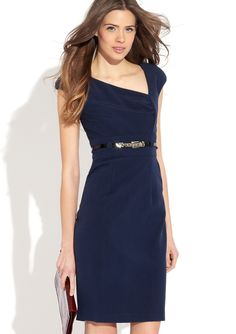 Asymmetrical navy dress for the office