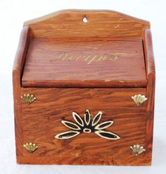 VINTAGE RECIPE BOX, WOOD WITH METAL DETAILS