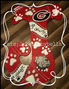 Georgia Bulldogs Wood Door Hanger by SimplyShabbyByBella on Etsy