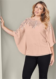 01918d55438 PLUS SIZE SEQUIN DETAIL TUNIC A shimmery take on your favorite tunic! Shiny  sequins adorn