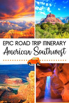 Planning a road trip in the Southwest region of the United States? This is the ultimate road trip itinerary for the American Southwest. It's an adjustable 10-14 day itinerary, taking you from Arizona to New Mexico to Utah. Naturally, you'll visit the Grand Canyon and all the must see US sites, cities, and national parks along the way. If you have more than 14 days, the itinerary also covers day trips from the Grand Canyon and other places. US Itineraries | US Road Trips | Southwest Road… Road Trip Packing, Road Trip Europe, Road Trip Destinations, Us Road Trip, Road Trip With Kids, Road Trip Essentials, Amazing Destinations, Vacation Wishes, Vacation Spots