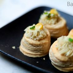 Quick & easy vol au vent filling recipe is a vegetarian corn & cheese filling made with mashed potatoes. One of the easiest vegetarian party snack recipes Dessert Shots, Dessert Cake Recipes, Sweets Recipes, Coffee Recipes, Cupcake Recipes, Diwali Special Recipes, Desserts In A Glass, Vol Au Vent, Custard Cake
