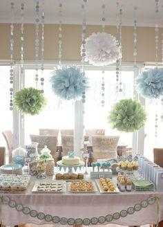 Decoración en colores pasteles, ideal para un baby shower