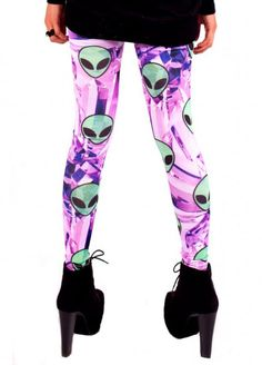 NewBreed Crystal Alien Leggings | Attitude Clothing