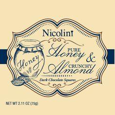 Nicolini Chocolates packaging- Honey and Almond Dark Chocolate Chocolate Squares, Chocolate Chocolate, Chocolate Packaging, Design Packaging, Chocolates, Almond, Honey, Label, Branding