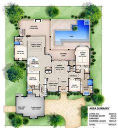 Mediterranean House Plans, Mediterranean Style, Best House Plans, House Floor Plans, Monster House Plans, Outdoor Spa, Chula, Outdoor Kitchen Design, Outdoor Living Areas