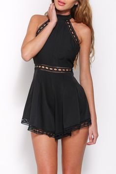 ef1e122eb557 Black High Neck Sleeveless Hollow Out Hemline Flared Playsuit Playsuit  Romper