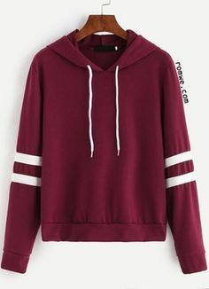 Burgundy Varsity Striped Drawstring Hooded Sweatshirt