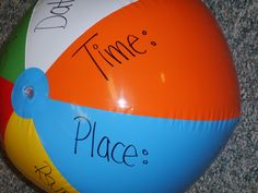 blew them up and then wrote the information about the party on the ball. CUTE
