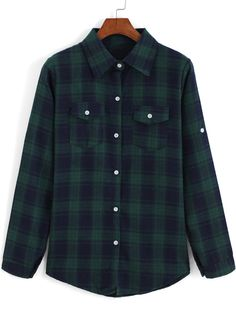 Blue Green Lapel Long Sleeve Plaid Checkered Blouse