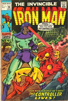 """Iron Man Vol (published by Marvel Comics) left Back to title selection : Comics I : Iron Man Vol 1 Contents[show] Nos. Iron Man """"Alone Against A."""" (May, Iron Man """"The Day of the Demolisher!"""" (June, Iron Man """"My Friend, My Foe, The Freak. Iron Man Comic Books, Marvel Comic Books, Comic Books Art, Comic Art, Book Art, Marvel Characters, Cartoon Characters, Vintage Comic Books, Vintage Comics"""