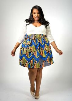 Chioma African Print High Waist Full Skirt (Blue/Yellow/Orange)