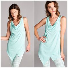 Pastel Cowl Neck Tank Tops The perfect sleeveless top to pair with leggings. Featuring a drape front cowl neck design. Make of rayon and spandex. Colors mint. . Leggings sold separately.  Bundle a set and save. Size S, M, L, XL.                                    S Bust 34 Length 33  M  Bust 36 Length 34  L  Bust 38 Length 35  XL  Bust 42 Length 35 Pastel striped Tops