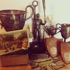 St George's Golf trophies from first year 1929 , Toronto C.N.E canoeing trophy 1939, & tennis trophies1929. Vintage Sports Decor, Golf Trophies, The Sporting Life, St George's, Canoeing, Saint George, Antique Art, Home Accents, Toronto