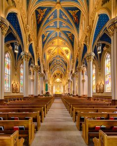 Interior of Basilica of the Sacred Heart at Notre Dame University, South Bend, Indiana #Indiana