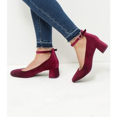New Look Wide Fit Dark Red Velvet Block Heels (£20) ❤ liked on Polyvore featuring shoes, pumps, dark red, new look shoes, velvet shoes, wide pumps, ankle strap shoes and wide shoes