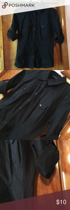 New York & Company Black Button Down Shirt Black button Down Shirt with stretch material on sides, sleeves roll up & secure with buttoned strap. New York & Company Tops Button Down Shirts