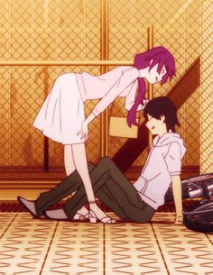 Day 8 - Favorite anime couple: Hitagi Senjougahara and Koyomi Araragi, from Monogatari Series Chica Anime Manga, Kawaii Anime, Cute Anime Pics, Anime Love, Boca Anime, Monogatari Series, Retro Futurism, Light Novel, Manga Art