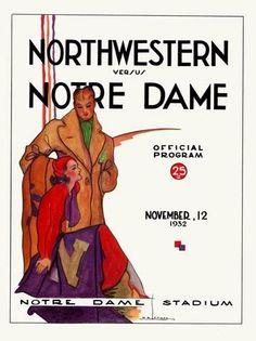 1932 Notre Dame-Northwestern vintage game program. HistoricFootballPostersBlog.com