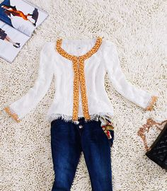 White Beaded Lace Embroidered Tassel Bottom Long Sleeve Blazer