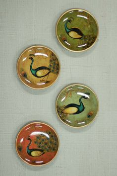 SET/4 ACCENT PLATES \ PEACOCKS  $12.00