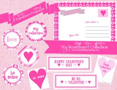 Be My Valentine- Printable Party Set   cute postcards, paper designs, photo props, cupcake toppers and more :)    www.printablepartyshop.com  #valentines  #pink  #love    valentine's day ideas
