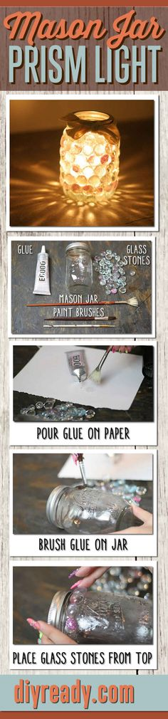Mason Jar Crafts | DIY Mason Jar Prism Light | Dollar Store Projects make easy DIY Home Decor http://diyready.com/mason-jar-crafts-prism-candle-light/