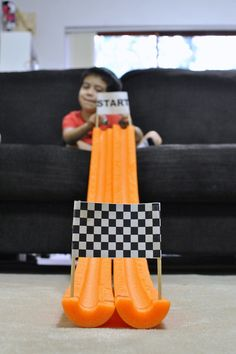 Some homemade school holidays activity - marble racetrack