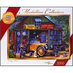 "Vintage Motors 2000 Piece Puzzle: This puzzle will inspire you to pull that classic car out and get it good as new! Peter Bradshaw's artwork features a classic car in an old repair shop. This 2000 piece jigsaw puzzle measures 27 1/4"" x 38 1/8"" when complete.  $19.99  http://www.calendars.com/Assorted-Jigsaw-Puzzles/Vintage-Motors-2000-Piece-Puzzle/prod201100010802/?categoryId=cat490008=cat490008#"