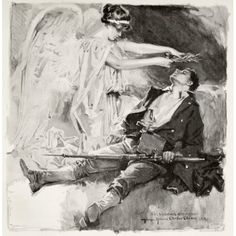 On The Field Of Honour A Dead Soldier Is Honoured With A Wreath By A Winged Angel After An Illustration By H Chandler Christy From King AlbertS Book Published 1915 Canvas Art - Ken Welsh Design Pics
