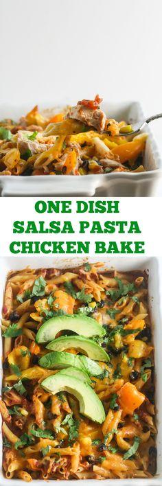 One Dish Salsa Pasta Chicken Bake Best Pasta Recipes, Fun Easy Recipes, Best Chicken Recipes, Skillet Recipes, Meal Recipes, Family Recipes, Easy Desserts, Dessert Recipes, Authentic Mexican Recipes