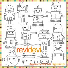 Robots digital stamps. Great for card making, digitized embroidey pattern, coloring, and more fun porjects!