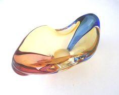 """Mstisov Hana Machovska 1960 -- modernist """"Romana"""" art glass bowl / ashtray -- Czech art glass"""