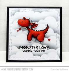 Magical Dragons Stamp Set and Die-namics, Stitched Cloud Edges Die-namics, Wonky Stitched Square STAX Die-namics - Francine Vuillème  #mftstamps