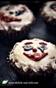 #eatthejoker #cellaiscooking Muffins mit farbigem Zuckerguss #ehrlichundechtvegan www.ehrlich-und-echt.com #thejokerisvegan