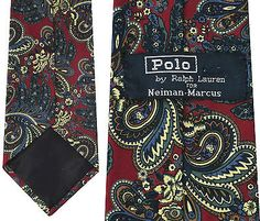 Neiman Marcus Polo Raph Lauren Paisley Silk Necktie Neck Tie