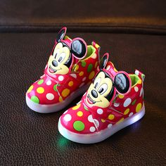 a0494adcc Kids Shoes With Light Boys Led Sneakers New Spring Autumn Dots Lighted  Fashion Girls Mickey Shoes Children Shoes Size 21 30-in Sneakers from  Mother & Kids ...