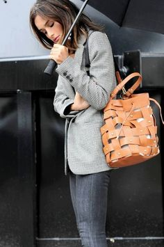 #winter #outfits / Checked Blazer // Camel Leather Tote Bag // Grey Skinny Jeans