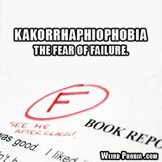 """Read this\/ K  The most hilarious part is that someone who has this will one day see it and say """"Oh yeah that's totally me. I can't stand to fail. It makes me not wanna try. I totally have 'kaka-.... kakar-.... kakor-......'"""" ..... and then they would totally freak out BC THEY FAILED TO SAY THE WORD THAT DESCRIBES HOW AFRAID THEY ARE TO FAIL[IN SAYING THAT WORD]!!! K"""