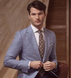 249a50305d0 Men s Royal Blue Herringbone Linen Tailored Fit Italian Suit - 1913  Collection