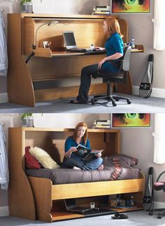 Study Beds allow you to turn any extra bedroom into a study and back into a bedroom in seconds. Clever design make it so nothing on the desk's surface has to be moved when it lowers and reveals the flip down bed. Available in single and double models. | Tiny Homes