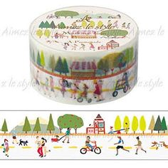 Promenade is a roll of decorative washi tape by Japanese brand Aimez Le Style. Masking Tape, Washi Tapes, Deux Faces, Inventions, Create Yourself, Decorative Boxes, Stationery, Japanese, Paper